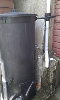 water butt with downpipe connection kit
